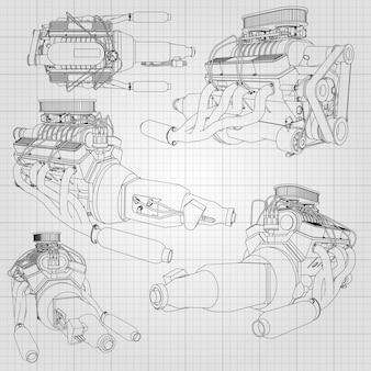 Een set van verschillende soorten krachtige automotoren. de motor is getekend met zwarte lijnen op een wit vel in een kooi