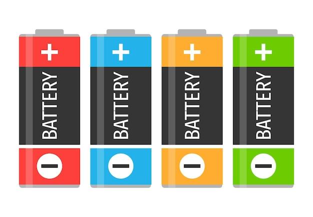 Een set van vier kleurrijke batterijen. vector illustratie