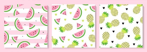 Een set van watermeloen en ananas naadloos patroon