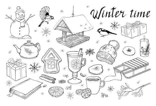 Een set van winter elementen geïsoleerd op een witte achtergrond hand getrokken vectorillustratie voor kerstmis