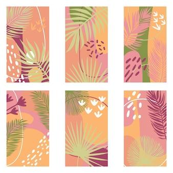 Een set van zes abstracte achtergronden in een trendy stijl voor social media stories met ruimte voor tekst.