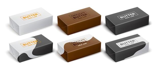 Een set verpakkingen voor chocoladeboter margarine spread zuivelproducten realistische vector
