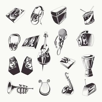 Een set vintage monochrome muziekinstrumenten