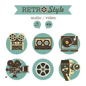 Een set vintage retro items.