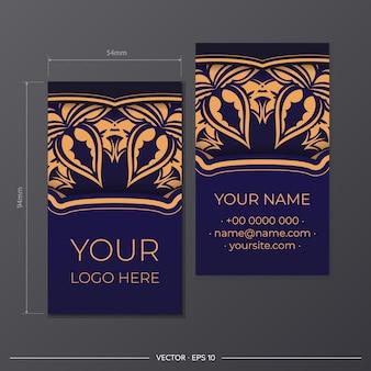 Een set visitekaartjes in blauw met luxe ornamenten. drukklaar visitekaartjeontwerp met ruimte voor uw tekst en vintage patronen.