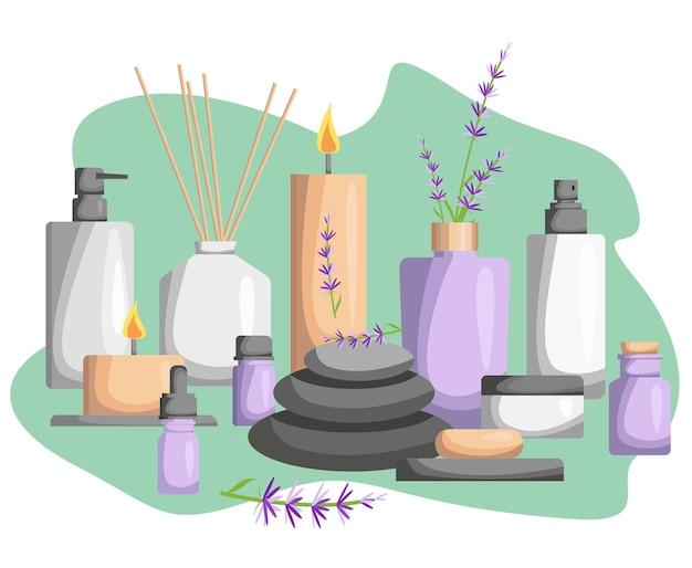 Een set voor een spa salon. kaarsen, oliën, schoonheidsbehandelingen en spa-ontspanning voor wellness.