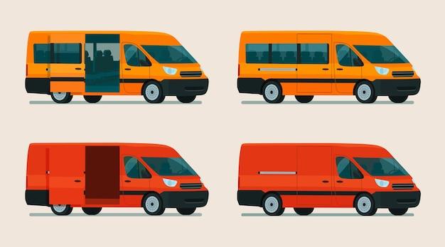 Een set vracht- en passagiersbusjes. isometrische weergave.