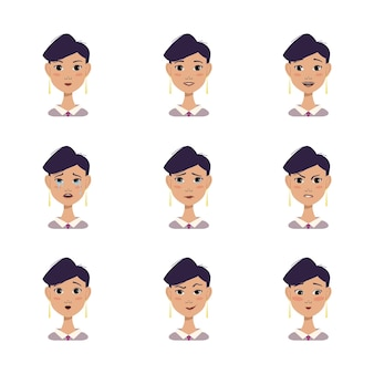 Een set vrouwavatars met verschillende emoties zwart haar kort kapsel gezicht in shirt