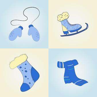 Een set winterartikelen voor een fijn weekend voor de feestdagen. vector illustratie.