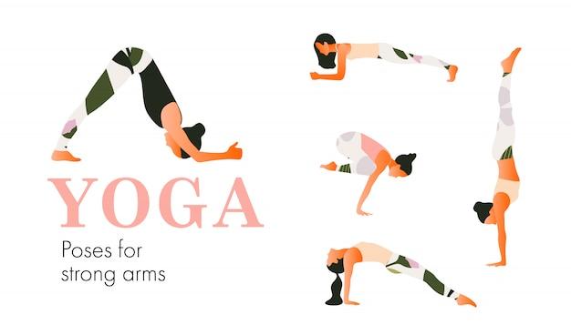 Een set yogahoudingen vrouwelijke figuren voor sterke armen. vrouwenfiguren oefenen in bedrukte sportkleding. vlakke stijl.