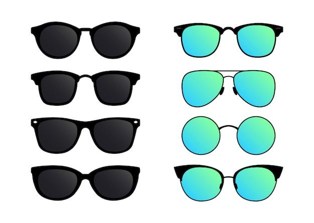 Een set zonnebrillen. bril in vlakke stijl.