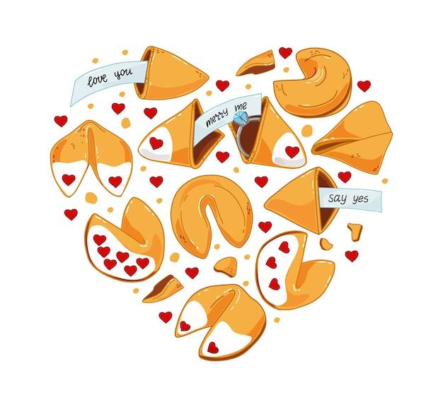 Een setje chinese koekjes met voorspellingen, met een verlovingsring, een liefdesverklaring. de verloving.