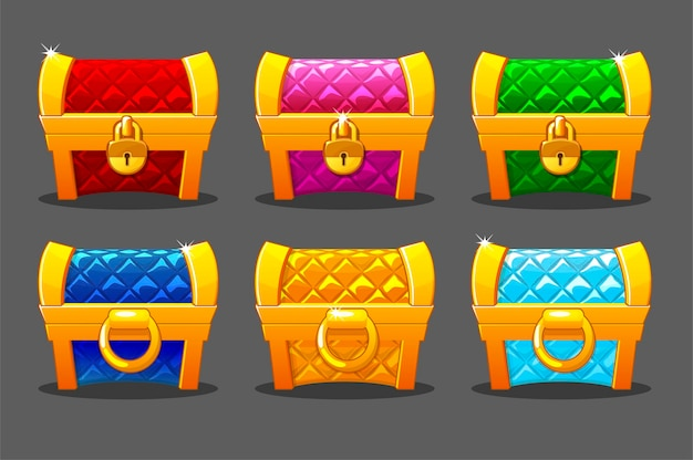 Een setje felgekleurde gouden zachte kisten