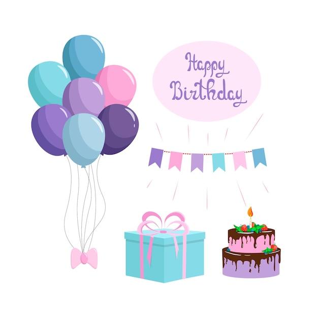 Een setje voor een verjaardag. ballonnen, cake, geschenkdoos, vlaggen.
