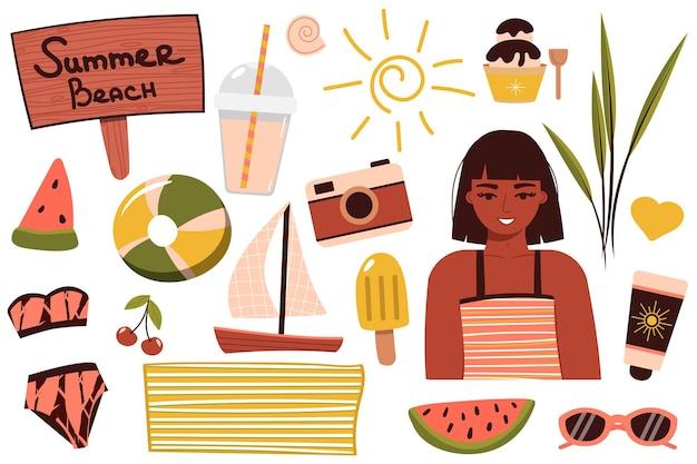 Een setje zomerspullen voor op het strand. reis naar een zonnig land. gelukkig meisje in een bikini rust aan zee. een vrouw in een zwempak zonnebaadt en ontspant in de buurt van het water. zomer rust. vector