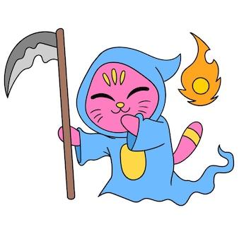Een shinigami-kat gekleed in een engel des doods, karakter schattig doodle tekenen. vector illustratie