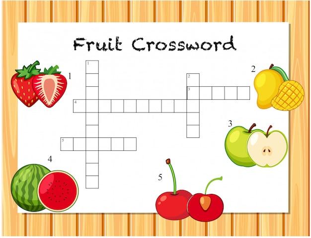 Een sjabloon met fruitkruiswoordraadsels