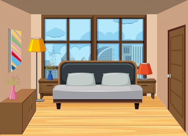 Een slaapkamer in het hoge appartement