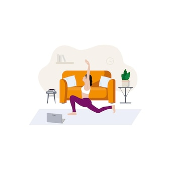 Een slank meisje doet aan sport om thuis bij de bank te zitten gezellig interieur en thuis online