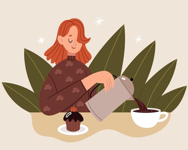 Een slaperig meisje schenkt zichzelf veel koffie in via de franse pers. donkere herfstochtend. vroeg opstaan.