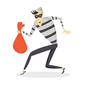 Een sluipende dief met een zak gestolen goederen. een crimineel in gestreepte kleding en een masker. vector stripfiguur