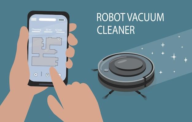 Een smartphone-app om de robotstofzuiger te bedienen