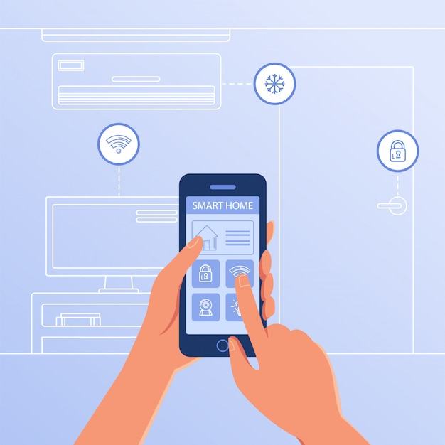 Een smartphone met smart home-instellingen en controllersysteem.