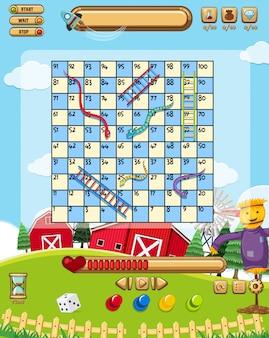 Een snake ladder game sjabloon