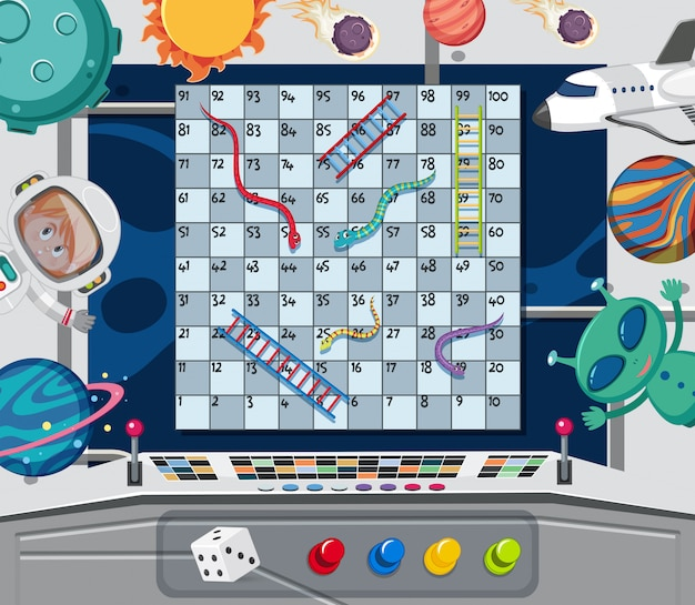 Een snake ladder game sjabloon