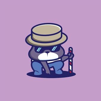 Een snoepdetective met een klein hondenkarakter met een hoed en een zuurstok