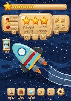 Een space rocket-spelmalplaatje