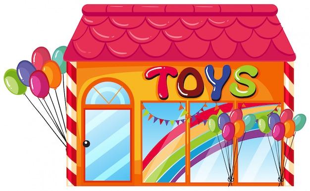 Een speelgoedwinkel op witte achtergrond