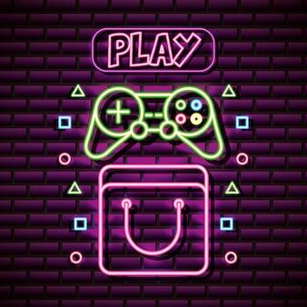 Een spel in neonstijl besturen, gerelateerd aan videogames