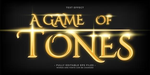 Een spel van tonen glanzend gouden teksteffect geïsoleerd op zwart bewerkbare eps cc