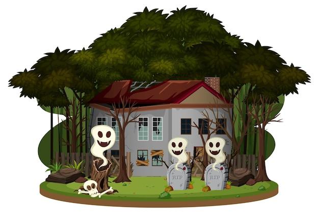 Een spookhuis in het bos