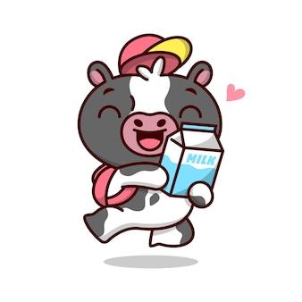 Een springende leuke koe die zo blij ziet met zijn melk