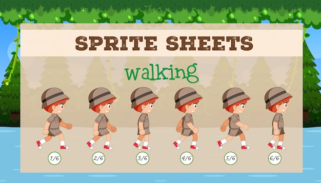 Een sprite sheet walking game template