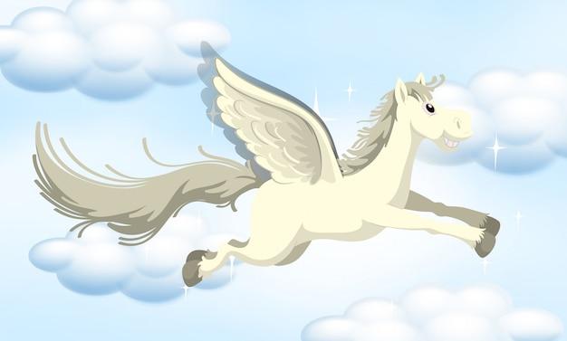 Een sprookjesachtige pony op lucht