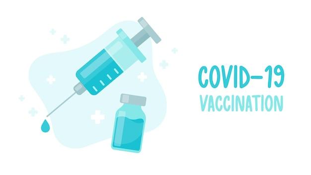 Een spuit met een vaccin tegen het virus. het concept van vaccinatie tegen covid-19
