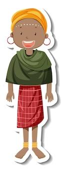 Een stammenvrouw met afrikaanse stamuitrusting op witte achtergrond