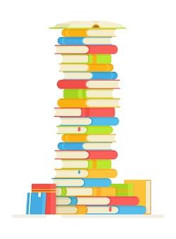 Een stapel boeken om te lezen. illustratie van het lezen van favoriete boeken. je huiswerk maken.