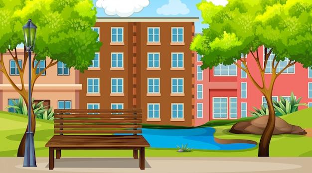 Een stedelijke parkscène