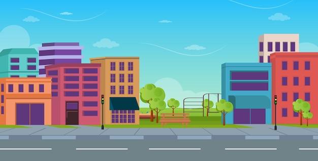 Een stedelijke stad achtergrond vlakke afbeelding download