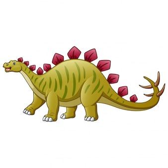 Een stegosaurusbeeldverhaal op wit wordt geïsoleerd dat