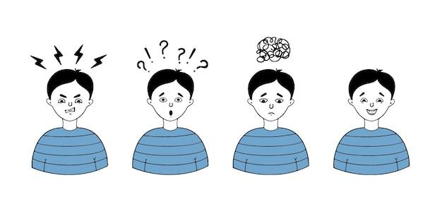 Een stel jongensgezichten die verschillende emoties uitdrukken, zoals woede, verdriet, vreugde, verrassing.