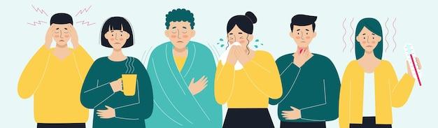 Een stel zieke mensen virus hoofdpijn koorts hoest loopneus het concept van virale ziekten