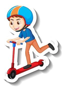 Een sticker met stripfiguur van een jongen die op een scooter rijdt