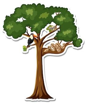 Een sticker van dieren op een boom