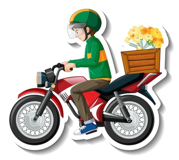 Een stickersjabloon met bezorger op motorfiets