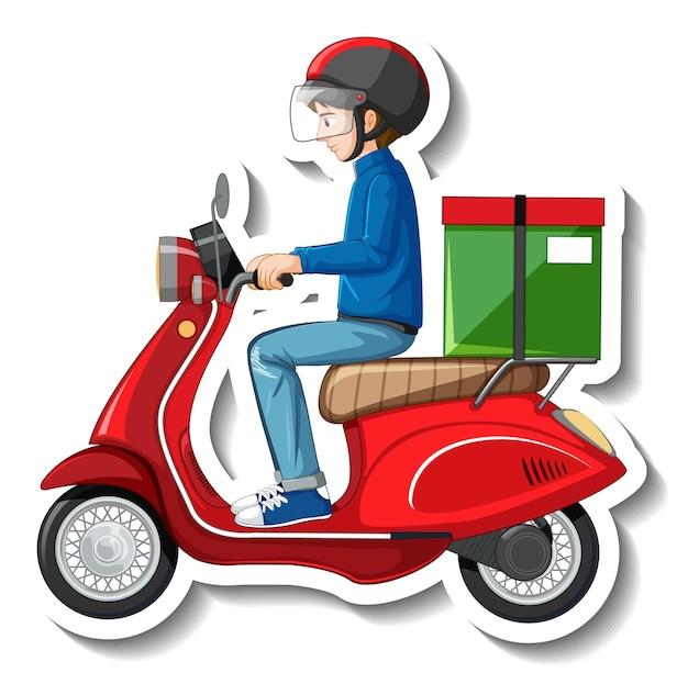 Een stickersjabloon met bezorger op scooter